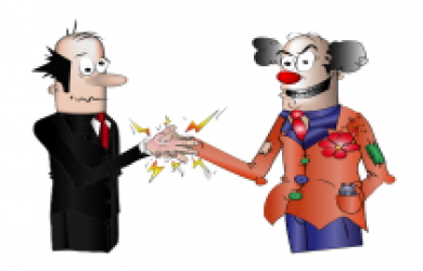 Hand buzzer in job interview handshake